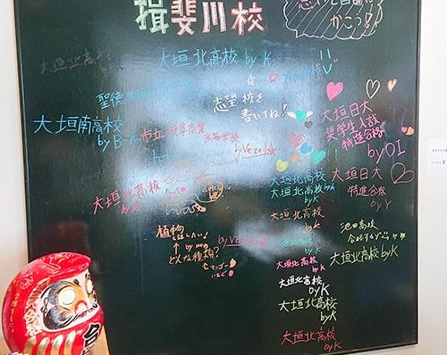 生徒たちの志望校が書かれた黒板